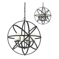 Z-Lite - Z-Lite Aranya Pendant Light X-ZRB-L6-7106 - Orbiting metal bands circle the contemporary inner chandelier. This family is made up of round and oval shapes finished in Bronze finishes complimented with matte opal glass.