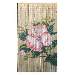 "Bamboo54 - Bamboo Flower Scene - Bamboo54 flower scene is made from authentic bamboo and hand strung. One curtain contains 90 strands across and is the perfect door hanging accessory. Hand painted on both sides. Measures approximately 36"" x 80"""