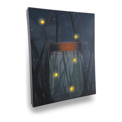 Zeckos - Flickering Jar of Fireflies Lighted LED Canvas Wall Hanging - Reminiscent of a time when chasing fireflies then carefully placing them in a jar so you could watch their magical glow was a night time treat Now you can have that same feeling anytime when you hang this fun jar of fireflies canvas print on the wall This 8 inch (20 cm) wide, 10 inch (25 cm) high, 1 inch (3 cm) deep canvas print lights up with the flip of the switch on the side, so you can watch fireflies every night Printed canvas is stretched over a wood frame backed with vinyl to safely house the wires while providing access to the battery compartment, and requires only 2 AA batteries (not included). It's a wondrous accent for a child's bedroom, and would look amazing in an enclosed porch, patio or garden oasis, and makes a wonderful gift any 'lightning bug chasers' are sure to enjoy