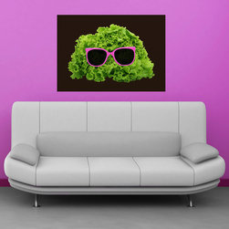 My Wonderful Walls - Mr. Salad Wall Sticker Decal by Florent Bodart, Medium - - Product: decal of lettuce with pink sunglasses