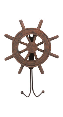 "Antique Finish Wooden Ship Wheel Hanger - The antique finish ship wheel hanger measures 7.5"" x 5.5"" x 1.5"". This item is made of wood. It makes a great gift, impressive decoration and will be admired by all those who love the sea."