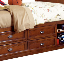 Lea Industries - Lea Deer Run Captains Bed Box in Brown Cherry - Welcome to the Deer Run furniture collection . This is an exciting collection of youth furniture that offers up brand new ways to think about sleep, study and storage. Unique extensions for the traditional bunk bed and lift bed create even more sleep options that utilize space. Case pieces fit underneath and around these beds so you can create a whole room setting in a limited amount of space. The brown cherry color finish and antiqued pewter hardware add a classic lifestyle look to this line. Multiple sleep, study and storage options make Deer Run a great collection for any age range. We are sure you will find a room set up that works for your Child. Safety is one of the key elements Parents look for when buying products for their Children. As a supplier of Children's furnishings, we are committed to ensuring our products meet or exceed the safety requirements defined by the Consumer Product Safety Commission and the ASTM. design and function combined with safety features makes the Deer Run collection an ideal choice for any Child's room.