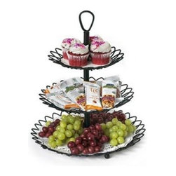 Spectrum Diversified Designs - Twist 3 Tier Server, Bronze - Entertain hungry guests and display all of your party favorites in style with the Twist 3-Tier Server from Spectrum. Three open tiers allow you to store and serve fruit, cookies, muffins, cupcakes and more in one convenient place. The clever design quickly disassembles to allow the tiers to be used separately or as one serving piece. Made of sturdy steel, its sleek and simple design will add a contemporary touch to your home.