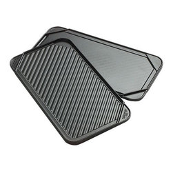 Reversible Double Griddle - This double griddle fits over two burners, designed to make plenty of pancakes, burgers, bacon, grilled sandwiches and other crowd-pleasers. Reversible griddle (both sides shown) boasts a deep well for drippings and a reverse side with grilling grooves. Also great for thawing frozen foods.