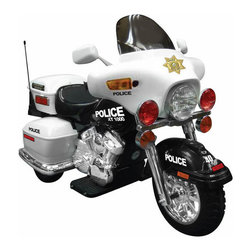 "Kidz Motorz - Police Motorcycle Ride-On in White - Features: -Ride-on. -Forward and reverse gears. -Hand accelerator. -Headlight, hazard light and signal light. -Electronic sound. -Storage box. -Chromed details. -Rule the sidewalk with this kid-sized riding toy that can whiz along at up to 5 mph. -12 volt battery. -Assembly required. -Materials: Plastic. -Weight Capacity: 110 lbs. -Child Age: 3 to 6. -32"" H x 24"" W x 49"" L, 41 lbs."