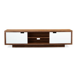 Gus Modern - Wilson Media Cabinet - Designed for the modern entertainment room, this storage design mixes a warm, walnut exterior with white lacquer doors. Features two central cavities for component storage, a back panel opening for cable management, and self-closing doors with integrated handles.