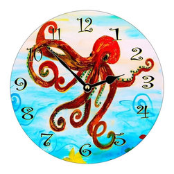 USA - Red Octopus Wall Clock - Enjoy passing time with my dye sublimated art work on a beautiful 11.25'' hard board clock with a wonderful glossy finish. Clocks are a durable 1/4 '' thick and require a AA battery not included. Made in the USA.