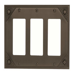 Atlas Homewares - Atlas Mctr-O Craftsman Triple Rocker Switch Plate Aged Bronze - Atlas Mctr-O Craftsman Triple Rocker Switch Plate Aged Bronze