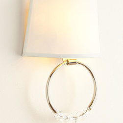 """Horchow - Juno Sconce - Juno SconceDetailsHandcrafted of steel and crystal.Uses two 60-watt bulbs.Direct wire; professional installation required.10""""W x 4""""D x 13.25""""T.Imported.Weight 3 lbs. Boxed weight approximately 4.2 lbs. Please note that this item may require additional delivery and processing charges."""