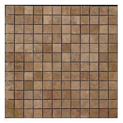 """Noche Tumbled Travertine Mosaics Meshed Tiles - Gorgeous 1 in. x 1 in. Noce Tumbled mosaics tiles on a 12"""" x 12"""" mesh. Each tile is approximately one square foot."""