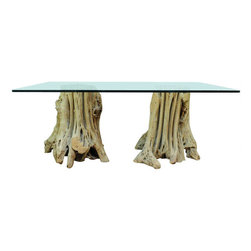"Naturalistic Free Form Japanese Cypress Root Dining Table / Desk with Glass Top - Very unusual double pedestal base cypress tree table constructed of 2 solid free form root bases (Believed to be Japanese cypress but unconfirmed) and a .75"" thick rectangular glass top with slightly rounded corners. The bases look as if they are growing right from the ground which adds a stunning naturalistic element to any room. This table can be used as a dining table or large desk and the bases can be moved around to your liking."