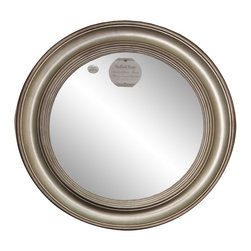 "Enchante Accessories Inc - Framed Round Wall Mirror 26"" Diameter (Antique Silver) - Polystyrene Framed Round Wall MirrorDecorative design with a weathered finish for a vintage lookPerfect Foyer MirrorVersatile design that can be hung in any hallway, living room, bedroom, or entrywayMeasures 26 in. DiameterMirrors not only reflect your image, but they reflect your style.  The types of mirrors you choose to hang in your home not only provide function, but act as a great accent piece that shows your sense of style apart and reflects your taste.  Made from durable wood and accented with distressed finishes, beveled edges, and weathered details that give them a rustic, vintage look, these mirrors add beauty to any wall in any room of the house.  Perfect for use in an entry way, a hallway, a dining room, a living room, or a bedroom, these rustic mirrors have that vintage inspired French country look that adds instant charm and casual comfort to any home. For a unique look and an interesting display, hang mirrors of different sizes, shapes, and colors on the same wall.  Mirrors help to add texture and dimension and create the illusion of a larger space.  By hanging multiple mirrors in a small space, you can create interest and increase the perceived size and feel of the space around you.  Available in both rectangular shapes and rectangular shaped frames with oval mirrors in the center, these rustic wood mirrors come in a variety of color finishes that have a neutral appeal and can be easily coordinated with any type of rustic furniture or shabby chic room decor. With the look and feel of a treasured family heirloom, these mirrors are aged and weathered to give them a vintage look and evoke a sense of old fashioned spirit.  Reminiscent of something you may have once seen in a charming country cottage, these wooden mirrors let you check out your own reflection as well as reflect the beautiful room around you.  The antique look makes them the perfect addition to any casual space while the clean mirrored glass provides the function that aged and worn mirrors often cannot."