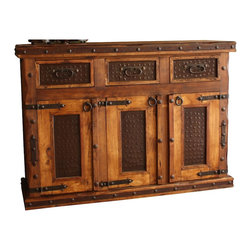 Mexican Artisans - Hacienda Rustic Buffet - Indeed Decor's Hacienda Rustic Buffet is a perfect blend of rugged beauty and well-crafted functional storage.  This Mexican buffet is large enough to store all of your entertaining essentials and features three drawers and three doors for easy access. Hacienda Rustic Buffet measures 72″W x 44″H x 22″D.