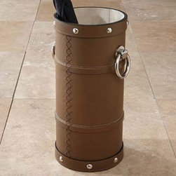 Brown leather umbrella stand - This leather stand would work well to house a cane collection or as an umbrella stand.  The silver accents give it great style.  This is a functional piece you'll love using in an entry or mudroom.