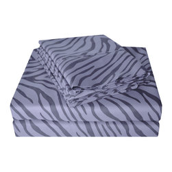 Microfiber Animal Print Sheet Set, Gray, Queen - These Microfiber Sheets offer an affordable alternative to high thread count Egyptian Cotton sheets. Microfibers are 100 times thinner than a strand of hair making the weave impenetrable to allergens and dust mites. These sheet sets features an amazing array of animal prints which are available in several different variations. Set includes One Flat Sheet 90x102, One Fitted Sheet 60x80, and Two Pillowcases 20x30 each.