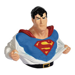 Superman - Superman Cookie Jar - Small heroes deserve a treat after a long day of battling fearsome foes. This comic-inspired cookie jar will keep chocolate chip bars and snickerdoodles fresh for days, to the dismay of cookie-vanquishing villains.   10.5'' W x 12.5'' H x 6'' D Ceramic Imported