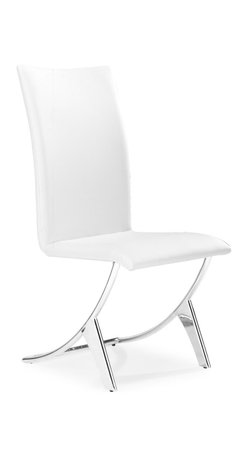 Zuo - Delfin Dining Chair, White - Comfortable and well-designed, the Delfin dining chair has a slim silhouette that also defines comfort.  It sits on chromed steel tube frame that has a slight reclining motion. A sleek chair for a great meal and comfy enough for after dinner conversation. Available in black or white. Sold as a set of two (package cannot be broken); price shown is for one.