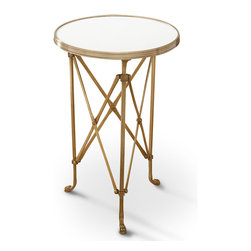 Kathy Kuo Home - Directors Cut Hollywood Regency Gold White Marble Round End Table - The most beautiful feature of this opulent, white marble end table is its versatility. A streamlined base of antique gold legs with intersecting supports contrasts with the solid, white honed marble tabletop. The circular surface has ample space for refreshments or showpieces. An artistic accent wherever it's needed, this table could serve as a glamorous nightstand or an intimate coffee table in a cozy sitting area.