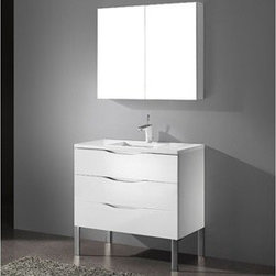 """Madeli - Madeli Milano 36"""" Bathroom Vanity with Quartzstone Top - Glossy White - Madeli brings together a team with 25 years of combined experience, the newest production technologies, and reliable availability of it's products. Featuring sleek sophisticated lines Madeli vanities are also created with contemporary finishes and materials. Some vanities also feature Blum soft-close hardware. Madeli also includes a Limited 1 Year Warranty on Glass Vessels, Basin, and Counter Tops. Features Three Drawer Vanity Glossy White finish Soft-close drawer glides Four polished chrome feet 1-1/4""""H Quartzstone Countertops come in White or Soft Grey finish Quartzstone Countertops come with single faucet or 8"""" widespread faucet holes Ceramic undermount sink with overflow Faucet and drain are not included No backsplash Matching mirror and medicine cabinet available Limited 1 Year Warranty on Glass Vessels, Basin, and Counter Tops How to handle your counter Spec Sheet Installation Instructions -->"""