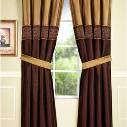 Home Fashions International - Jessica 95 Inch Copper Single Panel w/ Tiebacks - - This silky two tone design in copper offers a simple yet timeless look, embroidery design gives itself to a traditional appeal. Use multiple panels for wider windows.  Tie backs included. Home Fashions International - 53760DP2COP