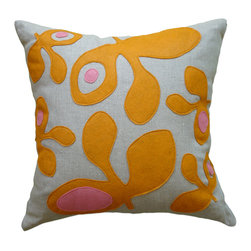 Balanced Design - Felt Appliqué Linen Pillow - Pod, Spice/Rose, 22x22 - Felt appliqué designs make a bold statement on this soft linen pillow. It's perfect for adding a burst of color and pattern to your home while also supporting hand-crafted work in the United States. Each pillow is sewn in Massachusetts and filled with fiber made from recycled plastic bottles. You can't go wrong with this ecofriendly design.