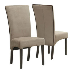 """Monarch Specialties - Monarch Specialties Dining Chair in Tan Velvet and Brown Piping (Set of 2) - Combining contemporary design and classic styling, these parson chairs will help create a modern and luxurious feel to your dining room. The high profile 41"""" high backs, solid wood legs in espresso finish and a rich tan velvet upholstery with chocolate brown contrast piping complete the stylish look of these chairs."""