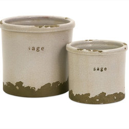 "Imax Worldwide Home - Sage Herb Pots - Set of 2 - Perfectly sized, this set of two sage herb pots is made of red clay and kiln fired to perfection. Finished in a white crackle glaze, rough edges are purposely exposed to add character.; Country of Origin: Phillipines; Weight: 4.18 lbs; Dimensions: 4.25-5.75""h x 5-6.25""d"