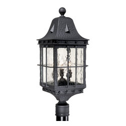 Vaxcel Lighting - Vaxcel Lighting Edinburgh Traditional Outdoor Post Lantern Light X-BT090UPO-DE - From the Edinburgh Collection comes this traditionally styled Vaxcel Lighting outdoor post lantern light complete with grid-like bar detailing and an elegant mansard style roof. A spherical ball sits proudly at the top, pulling the look together. This traditional outdoor lighting fixture features a Textured Black finish and fluid water glass window panes.