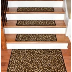 "Dean Flooring Company - Dean Premium Carpet Stair Treads - Leopard 30"" x 9"" (Set of 13) Plus Mat - Dean Premium Carpet Stair Treads - Leopard 30"" x 9"" (Set of 13) Plus a Matching 2' x 3' Landing Mat : Beautiful Plush Premium Carpet Stair Treads by Dean Flooring Company Leopard. Luxurious and resilient texture. High fashion design. Densely woven construction. Uncommon softness and durability. Made from premium quality broadloom. Stylish enough to compliment the finest decors. Color: Leopard. Stair treads are approximately 30 inches by 9 inches. Set includes 13 stair treads plus a matching 2' x 3' landing mat. Each tread is finished with color matching yarn. Helps prevents slips on your hardwood stairs. Provides warmth and comfort. Extends the life of your hardwood stairs. We can also list custom matching hallway runners and area rugs upon request. Easy do-it-yourself installation with double-sided mesh carpet tape (sold separately)."