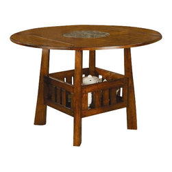 "Coaster - Counter Height Table (Dark Oak) By Coaster - DESCRIPTION: Square/round counter height table features built-in Lazy Susan with four drop leafs to convert the table from 42"" square to 60"" round. Dimensions: Counter Height Table:  x 60"" & 42""x42""D x 36.00"" Height"