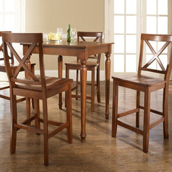 Crosley - Crosley 5-Piece Pub Dining Set with Turned Leg and X-Back Stools - KD520009BK - Shop for Bar and Pub Tables with Stools from Hayneedle.com! Gather family and friends around the 5-Piece Pub Dining Set with Turned Leg and X-Back Stools for snacks cocktails and to admire your good taste. This set includes table and 4 stools. The table's legs are crafted with a decorative wood turned spindle design while the high stools feature a comfortable X-back. The table and stools are built from hand rubbed hardwoods and the table is accented with a lovely wood veneer. Smartly sized this set is great for simple dining for two or it will offer casual seating for refreshments in a rec room or bar. The stools are easily moved for additional seating anyplace in your home. About Crosley FurnitureIn 1920 Powel Crosley founded the company that pioneered radio broadcasting and mass market manufacturing around the world starting with a simple radio meticulously crafted with obsessive detail and accuracy and a measure of consideration for the wallet. These high ideals have served the company well for over 90 years and they live on in the newest addition to the family. Crosley Furniture sets a new standard for innovation function and meticulous craftsmanship in the manufacture of value-priced furniture. They proudly offer durable furniture products featuring hardwood and veneer construction with rich multi-step finishes in a multitude of styles.