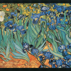 """Amanti Art - Garden of Irises Framed with Gel Coated Finish by Vincent Van Gogh - One of the most famous works by the artist, """"Irises"""" reflects Van Gogh's poignant expressionism where vibrant color and rich, sharp imagery symbolize deep, emotional undercurrents."""