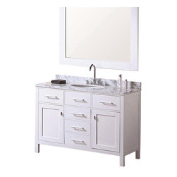 """Design Element - London 48"""" Single Sink Vanity Set, Pure White - The 48"""" London single-sink vanity in white is elegantly constructed of quality woods. The classic beauty of the white Carrara marble countertop and the contemporary style of the white cabinetry bring a crisp clean look to any bathroom. Seated at the base of the ceramic sink is a chrome finish pop-up drain designed for easy one-touch draining. A large white frame mirror is included. This beautiful vanity has ample storage which includes one flip-down shelf five pullout drawers and two soft-closing cabinet doors all accented with satin nickel hardware. The London Bathroom Vanity is designed as a centerpiece to awe and inspire the eye without sacrificing quality functionality or durability."""