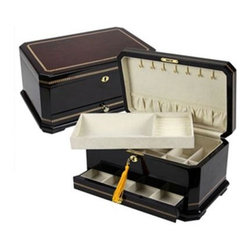 Quality Importers - The Grace Jewelry Box - The Grace Jewelry Box - High-lacquer Mahogany finish  Ivory velvet-lined interior  9 pendant hooks and a crushed velvet pouch on lid interior  2 trays are lined for rings  chains  pins  bracelets and earrings  Lift-out tray with curved partition and 6 ring bars  Base drawer for extra storage and Brass lock & key  This item cannot be shipped to APO/FPO addresses. Please accept our apologies.