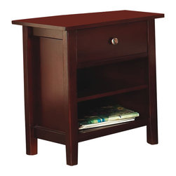 Modus Furniture - Modus Newport 1 Drawer Nightstand in Cordovan - Modus Furniture - Nightstands - NP1881 - Contemporary and confident with a decidedly urban point of view the Newport  One Drawer Nightstand combines unexpected accents with an unwavering attention to detail. The rich soothing finish and clean lines will make it a welcome addition to your bedroom suite.The striking simplicity of the Newport Collections Tropical Mahogany crafted case goods is unparalleled.  Coming in a dazzling Cordovan color this collection features solid wood drawer faces and frames metal euro-glide drawer rollers and a reinforced corner blocked frame matching their beauty with reliability.  Coupled with sleigh and platform beds featuring bentwood slatted headboards the Newport Collection brightens up any bedroom with its brilliant style and simple elegance.Features:Cordovan finishContemporary shaker designReverse beveled floating top and recessed side panels give this piece a transitional flairPackage includes both shaker-style wood knobs and contemporary brushed chrome knobsOne solid wood drawer  with English dovetail joineryMetal euroglide drawer system for smooth operationOne adjustable shelfConstructed from Tropical Mahogany solid wood and veneersSome assembly required