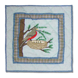 Patch Quilts - Songbirds Toss Pillow 16 x 16 Inch - Decorative applique Quilted Pillow Bed and Home Ensembles and Bedding items from Patch Magic   - Machine washable  - Line or Flat dry only Patch Quilts - TPBIRD