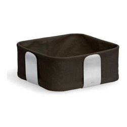 Blomus - Desa Large Bread Basket in Dark Brown - Removable fabric lining. Made of cotton and stainless steel. Designed by Floz Design. 1-Year manufacturer's defect warranty. 10.08 in. L x 10.08 in. W x 4.14 in. H