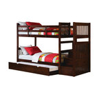 """Acme - Alem espresso finish wood twin over twin bunk bed set with stair case on the end - Alem espresso finish wood twin over twin bunk bed set with stair case on the end with trundle and storage for easy climbing. This set features a twin over twin bed configuration , with a stair case on the end with storage for ease of climbing into bed for the little ones and a pull out trundle underneath. Measures 99"""" x 43"""" x 66"""" H. Some assembly required."""