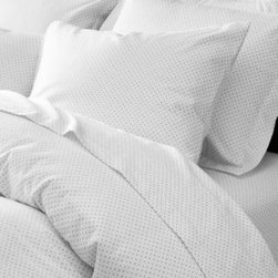 Garnet Hill - Garnet Hill Signature Pin Dot Sheets - Standard - Pillowcases - Pin Dot - These quiet pure cotton pin dot flannel sheets invite you to kick back and relax. The soothing gray and white color scheme works well with solids and other prints. Bedding is brushed for exceptional softness. Weightier and more durable than the average flannel sheet thanks to a tighter weave. Gets cozier with every wash. Fitted sheet is fully elasticized for a better fit (deep-pocket Queen and King sizes will fit mattresses up to 15 in.).