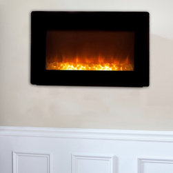 Black Wall Mounted Electric Fireplace - The Black Wall Mounted Electric Fireplace brings home modern style with its contemporary design, hard edges, and black finish. Along with its unique design, this fireplace includes an array of advanced features. This electric fireplace features a modern black steel frame and sleek design that extends a mere six inches from any wall. The modern black frame surrounds a wide realistic flame. Adding even more romance to this perfect setting is the glowing ember bed of this electric fireplace.