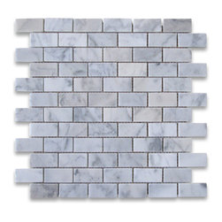 "Stone Center Corp - Carrara Marble Subway Brick Mosaic Tile 1x2 Polished - Carrara white marble 1"" x 2"" brick pieces mounted on 12"" x 12"" sturdy mesh tile sheet"