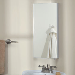 Fairmount Stainless Steel Corner Medicine Cabinet - White Powder Coat - Give your bathroom an organizational update with the Fairmount Stainless Steel Corner Medicine Cabinet. Clean lines and frameless mirror add to its appeal.