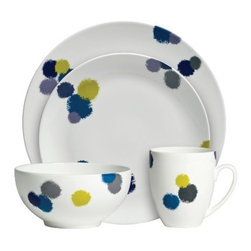 Vera Wang Wedgwood Ikat 4-Piece Place Setting - Oh Vera, we love the simple, architectural lines of your fashion, but we're loving this crisply composed yet seemingly random design of paint blobs in beautiful hues on this china. Where do I register?