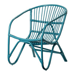 "Imported - Modern Teal Rattan Chair - Modern Teal Rattan Chair. Measures 27.5"" x 20.9"" x 22"". Imported."