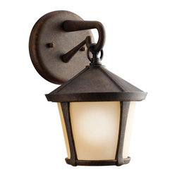 KICHLER - KICHLER Melbern Transitional Outdoor Wall Sconce X-ZGA1509 - From the Melbern Collection, this Kichler Lighting outdoor wall sconce features a unique take on a traditional and timeless lantern shape. The mission styling is complimented by a warm Aged Bronze finish wile a light umber etched glass shade completes the look. U.L. listed for wet locations.