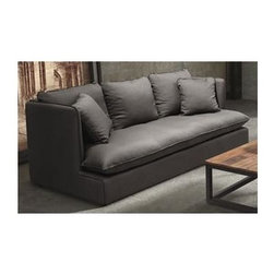 Zuo Modern - 86.6 in. Upholstered Sofa in Charcoal Gray - Pillows not included. Deep profile. Low to ground. Sleekly streamlined. Overstuffed. Ultra comfortable twist. Warranty: One year. Made from hardwood and polyester linen. Assembly required. Arm: 33.5 in. H. Seat: 78.7 in. L x 35.4 in. W x 16.5 in. H. Overall: 86.6 in. L x 38 in. W x 33.5 in. H (207.7 lbs.)Our European-inspired take on the classic sofa redefines it for a new age.