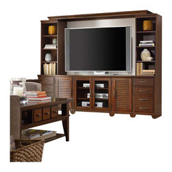 "Hooker Furniture - Hooker Furniture Wendover 8 Piece Wall with Bridge - Hooker Furniture - Entertainment Centers - 103771250 -  Entertainment Console: Two wood-framed glass doors with two adjustable shelves behind; one three plug outlet 32""W x 20""D x 30""H (2) Drawer Unit L/R: One locking file drawer with Pendaflex letter/legal file system; two drawers 16""W x 20""D x 30""H Left Shutter Door Unit: One door with one adjustable shelf behind 16""W x 20""D x 30""H Right Shutter Door Unit: One door with one adjustable shelf behind 16""W x 20""D x 30""H (2) Open Pier Hutch L/R: Three adjustable shelves; finished top 16:W x 16""D x 44""H Bridge: Finished top 83 1/4""W x 17 1/2""D x 2 1/2""H TV Space: 64""W x 19 1/4""D x 44 1/4""H Accommodates most 65-inch televisions Poplar Solids with Cherry Veneers and Light Physical Distressing Specifications: Overall product dimensions: 76.5"" H x 96"" W x 20"" D Overall product weight: 794.6 lbs.CV190"