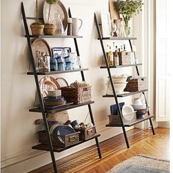"Morgan Metal & Wood Leaning Bookcase Shelf - Create a loft-style display space with our leaning bookcase. It has a space-conscious design that works well in a kitchen, family room or home office. 38.5"" wide x 16"" deep x 82.5"" high Sturdy iron frame finished in black. Features four kiln-dried acacia wood shelves with mahogany finish."