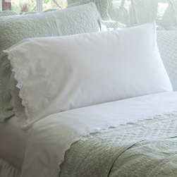 Taylor Linens - Frances Eastern King Sheet Set - Sweet dreams, indeed! These ever-so-fine yet unfussy sheets made of 100 percent cotton mill percale feature hand-crocheted lace in a zigzag pattern and lovely eyelet details. Oh, yes — you'll sleep in!
