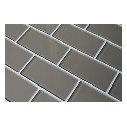 "Rocky Point Tile - Manhattan Taupe 3x6 Glass Subway Tiles, 3"" X 6"" Sample - A mid to dark taupe glass subway tile that looks great in kitchen and bathrooms! These tiles have a high gloss finish. They are sold loose packed giving you the option to install them in the pattern of your choice. Individual tiles are 3"" x 6"" in size and 5/16"" thick. Install them on their own or combine them one of other great color choices!"
